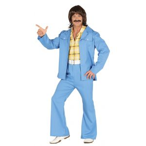 Disfraz años 70 ad traje azul