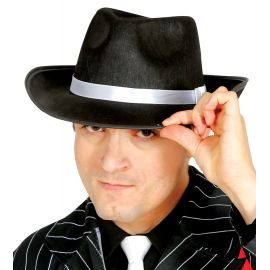 Sombrero ganster negro cinta blanca