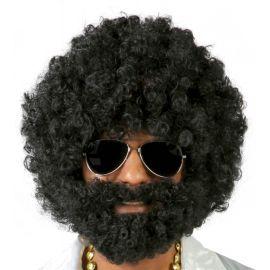 Peluca afro negra con barba