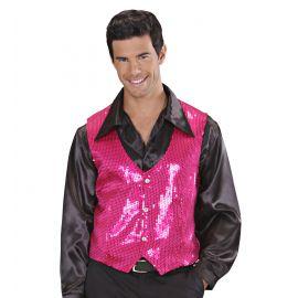 Chaleco lentejuelas hombre rosa