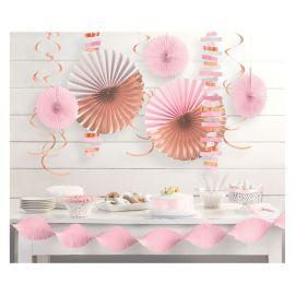 Kit decoracion rosa dorado