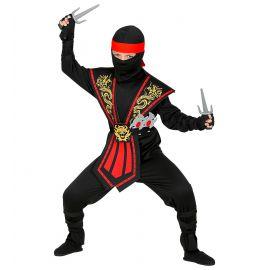 Disfraz ninja inf negro rojo