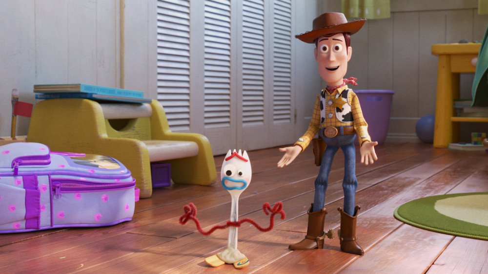 "NEW FRIEND! – In Disney and Pixar's ""Toy Story 4,"" Bonnie makes a new friend in kindergarten orientation—literally. When Forky—Bonnie's craft-project-turned-toy—declares himself trash and not a toy, Woody takes it upon himself to show Forky why he should embrace being a toy. Featuring the voices of Tony Hale and Tom Hanks as Forky and Woody, ""Toy Story 4"" opens in U.S. theaters on June 21, 2019. ©2019 Dinsey/Pixar. All Rights Reserved."