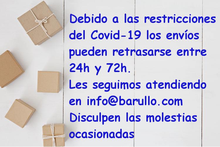 Posible retraso en los envíos debido al Covid-19. Les seguiremos atendiendo en info@barullo.com. Disculpen las molestias.